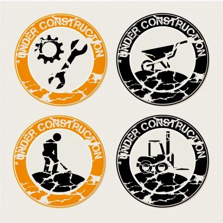 under construction seals over gray background vector illustration  Illustration