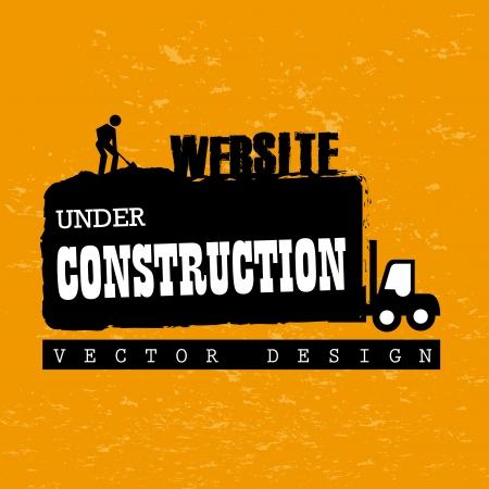 house under construction: website under construction over orange background vector illustration