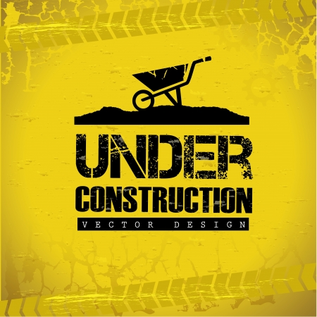 road worker: under construction design over yellow background vector illustration