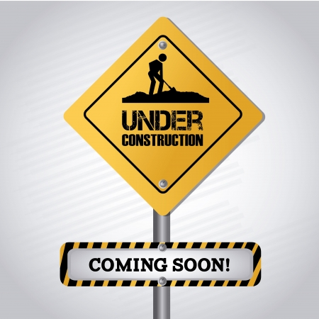 under  construction signal over gray background vector illustration  Vector