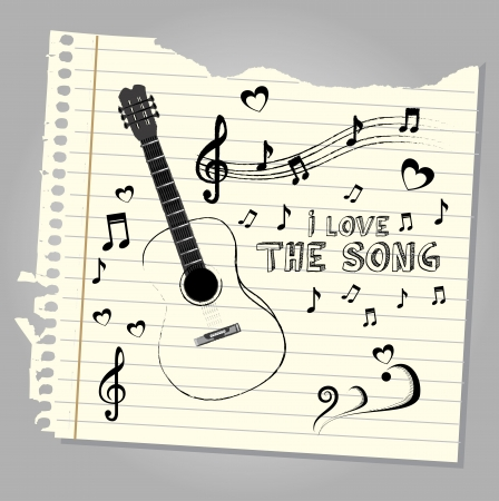 i love the song over notebook leaf background  vector illustration  Stock Vector - 20041009