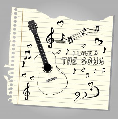 genre: i love the song over notebook leaf background  vector illustration  Illustration