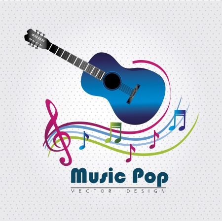 themed: music pop over  dotted background vector illustration