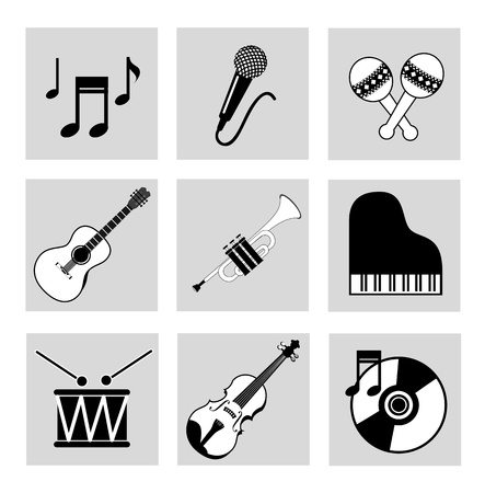 musical icons over white background vector illustration  Stock Vector - 20040944