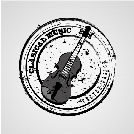 classical music seal over gray background vector illustration  Vector