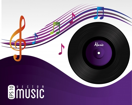 awarded: music song over purple background vector illustration