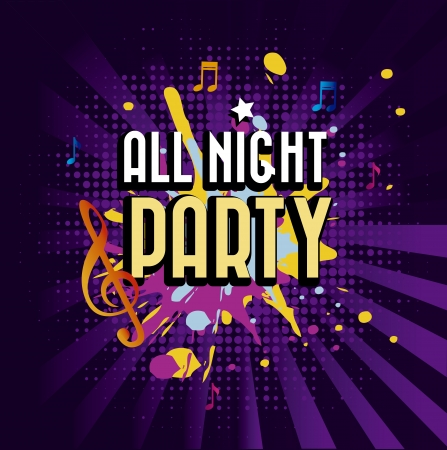 all night party over purple background vector illustration  Stock Vector - 20040989