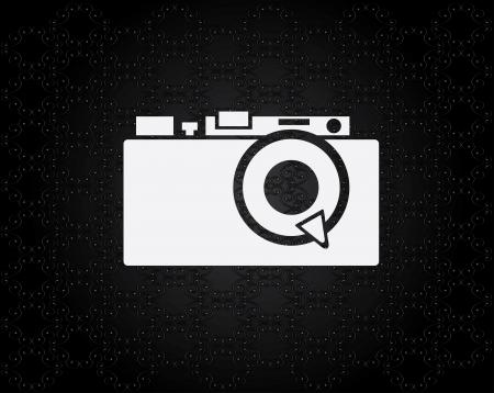 camera design over black dotted  background vector illustration Ilustração