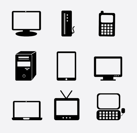 Technology icons over white background.  Vector