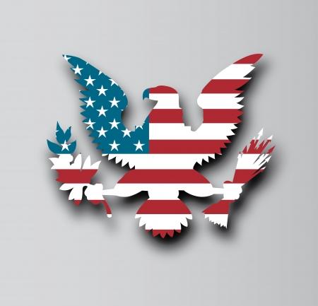 愛国心: フラグ イーグル デザイン灰色の背景、ベクトル イラスト上