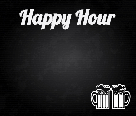 happy hour design over black background vector illustration  Ilustração