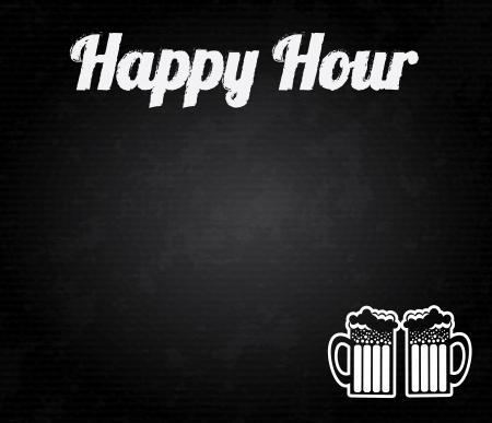 happy hour design over black background vector illustration Stok Fotoğraf - 20054025