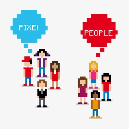 pixel people over white background vector illustration  Vector