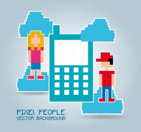 phone  pixel design over blue background  Vector