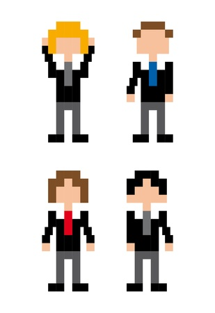 businessman people pixel design over white background vector illustration  Vector
