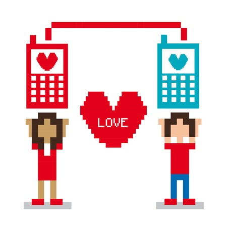 love pixel design over white background Vector