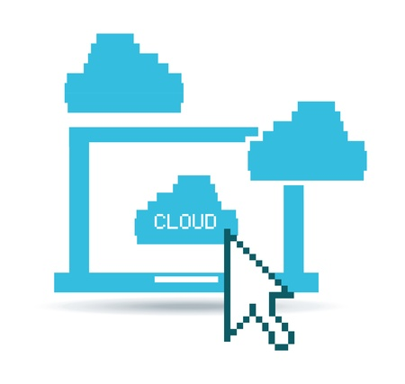 cloud technological over white background vector illustration  Vector