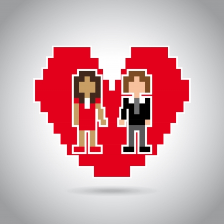 married pixel design over gray background   Vector