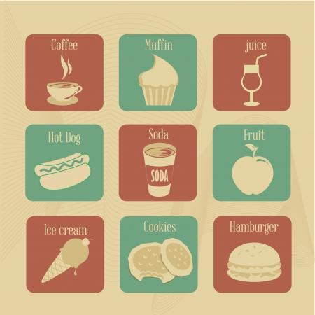 Eten en drinken pictogrammen op vintage achtergrond vector illustratie Stockfoto - 20053981