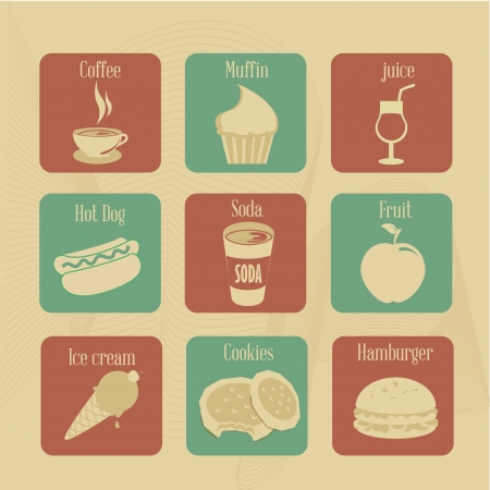 food and drink icons over vintage background vector illustration  Vector