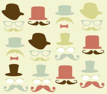 green man: hipster design over pink background vector illustration