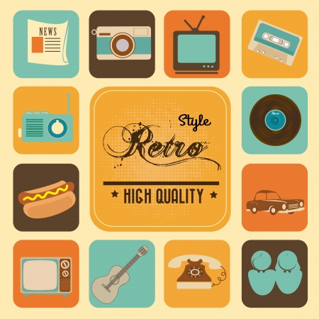 style retro over cream background vector illustration  Ilustração