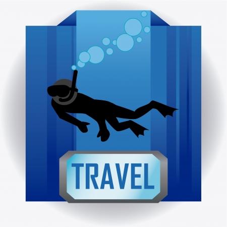 sky dive: travel design over sea background vector illustration  Illustration