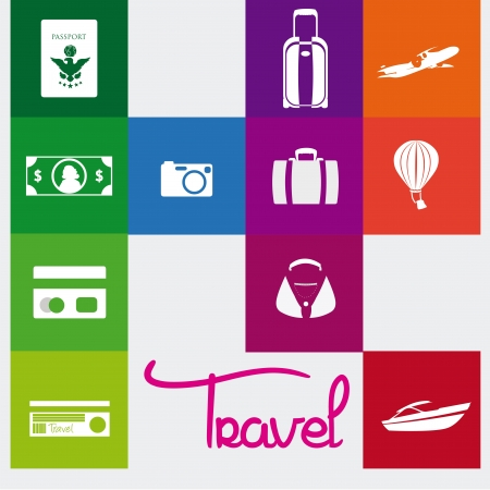 guides: travel icons over colorful background vector illustration