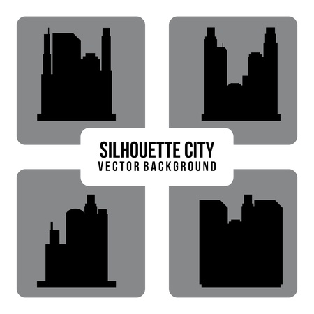 silhouette city over white background Stock Vector - 20107872