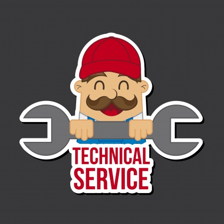 rectify: technical service icon over black background