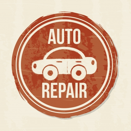 rectify: auto repair  seal over vintage  background vector illustration