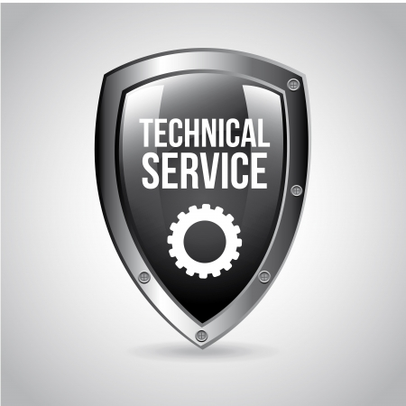 technical: technical service shield over gray background vector illustration