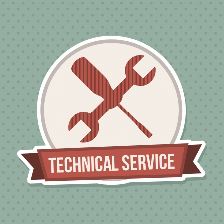 rectify: technical service seal over blue dotted  background vector illustration