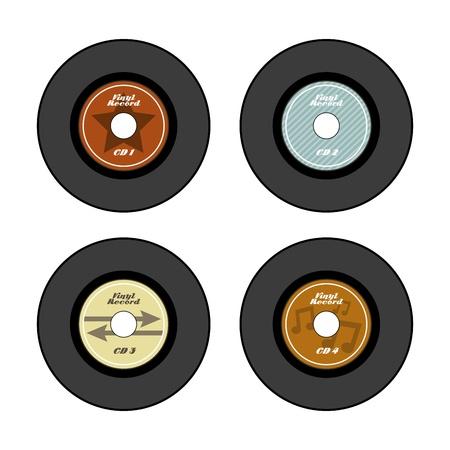 クリーム色の背景ベクトル イラストのビニール レコードのアイコン  イラスト・ベクター素材