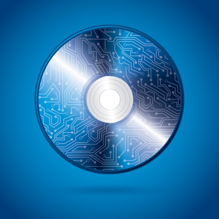 recordable: compact disc design over blue background vector illustration