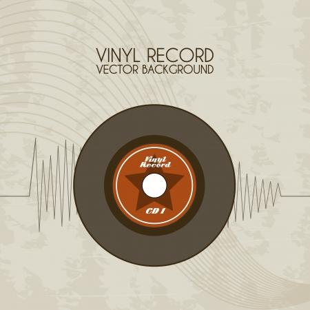 ビンテージ背景ベクトル イラストのビニール レコードのアイコン  イラスト・ベクター素材