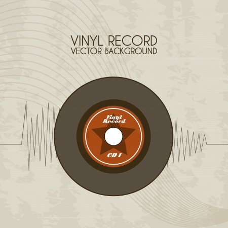 vinyl record icon over vintage background vector illustration  Vector