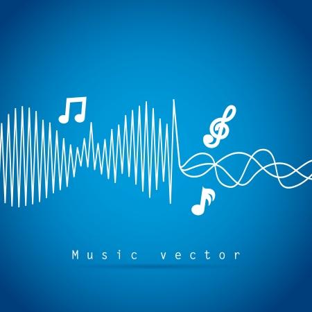 and sound: dise�o de la m�sica sobre fondo azul Vectores