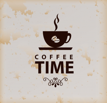 coffee time over vintage background vector illustration