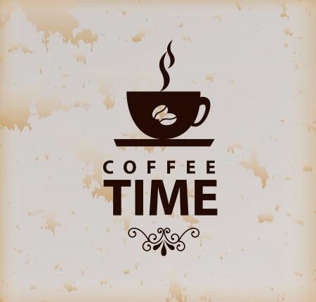 la hora del café sobre fondo de cosecha ilustración vectorial