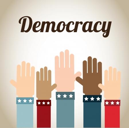 democracia: dise�o de la democracia sobre fondo beige ilustraci�n vectorial