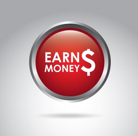 earn money: earn money over gray background vector illustration  Illustration