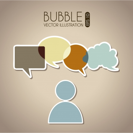 bubbles communication icons over beige background vector illustration  Vector