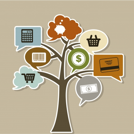Shoping: commerce tree icons over beige background vector illustration   Illustration