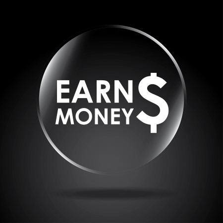 earn money: earn money over black background vector illustration