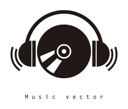 head phones: music design over white background vector illustration