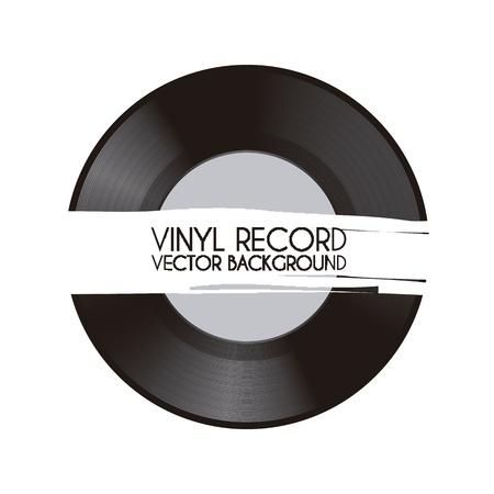 白い背景ベクトル イラスト ビニール レコード