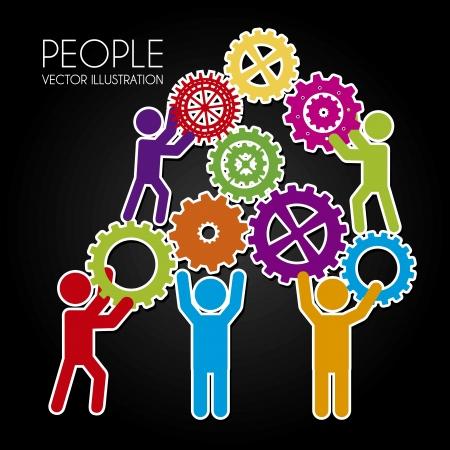 Gente trabajo en equipo sobre fondo negro ilustración vectorial Foto de archivo - 20252250