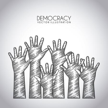 democracia: diseño de la democracia sobre fondo gris ilustración vectorial Vectores
