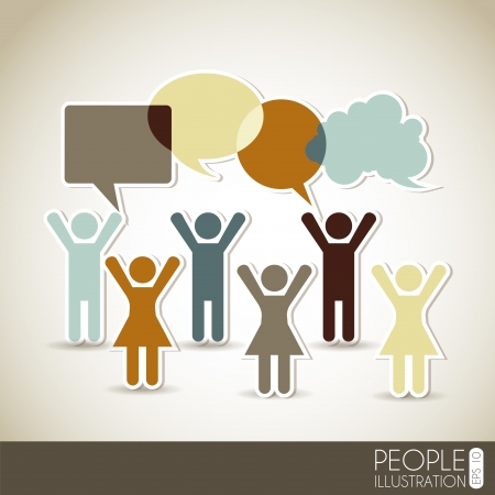 silhouettes people: social network over beige background vector illustration